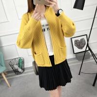 毛衣女开衫外套春季女装新款韩版短款毛衣长袖型外搭小披肩潮 黄色 均码