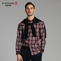 劲霸男装长袖衬衫2017秋季男士经典色织格纹丝毛长袖衬衣FAGJ3308