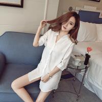 睡衣女夏性感情趣诱惑白衬衫女中长款2018新款夏季睡裙老公裙 白色
