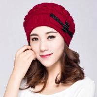 兔毛针织帽女蝴蝶结针织毛线帽 韩版学生潮时尚加厚护耳帽子