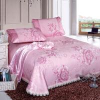 伊迪梦家纺 水洗冰丝席床单式床裙凉席三件套 冰丝提花蕾丝绣花边1.5m1.8/2米床AN403