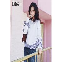 卫衣女宽松套头秋装新款韩版白色荷叶边圆领百搭学生长袖外套