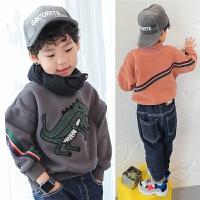 男童加绒卫衣冬季2017新款韩版潮儿童卡通恐龙上衣套头加厚男宝宝