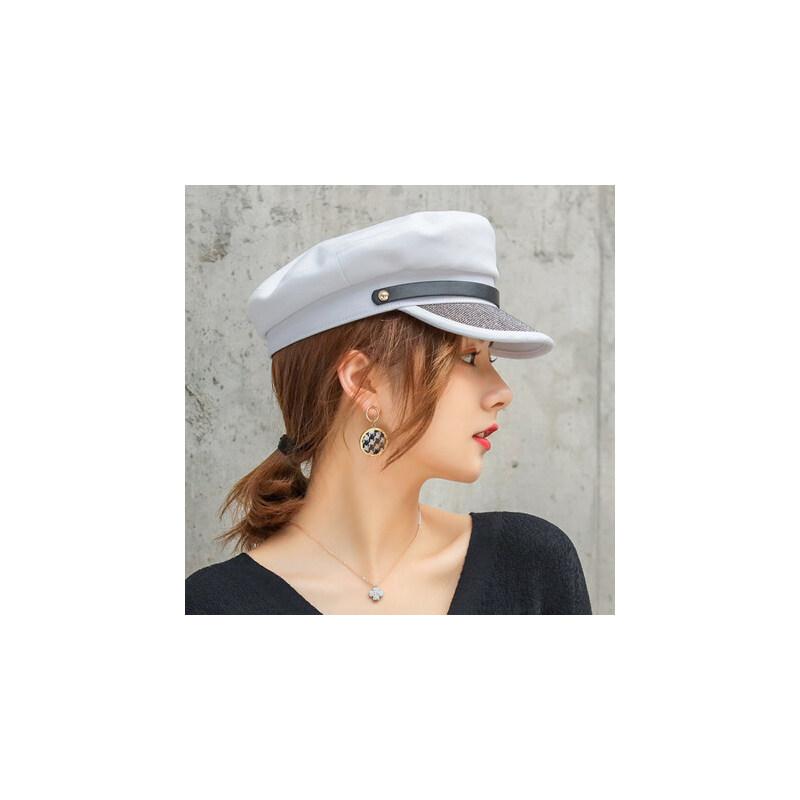 户外运动帽子女韩版潮鸭舌帽英伦时尚个性潮人学生平顶小香风军帽