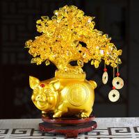 黄水晶发财树家居装饰品摆件客厅创意店铺开业礼品小摇钱树