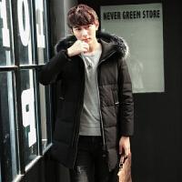 韩版修身款潮流真大毛毛领加厚中长款青年羽绒服休闲保暖连帽外套 黑色 M