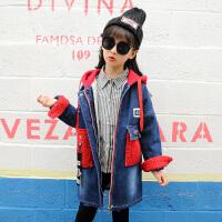 女童加绒加厚牛仔防风衣外套2017新款韩版时尚秋冬儿童中长款加棉 红色 红帽牛仔风衣