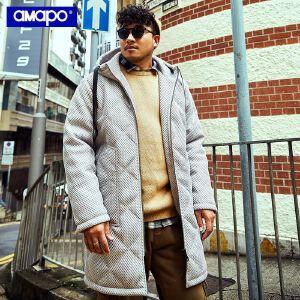 【限时抢购到手价:219元】AMAPO潮牌大码男装冬季宽松长款连帽外套加肥加大码潮胖子棉衣服