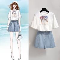 安妮纯港味套装夏季2020女神范网红韩版心机洋气牛仔短裤两件套法国小众
