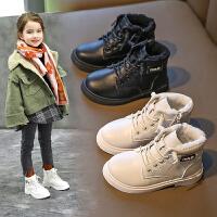 童鞋女童马丁靴冬季加绒棉鞋儿童棉靴子短靴