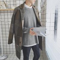 男士2017秋冬装新款韩范宽松格子毛呢大衣男装小清新呢料情侣外套