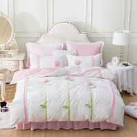 家纺韩版保暖床裙短毛绒公主四件套加厚珊瑚绒法兰绒床上用品