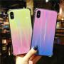 苹果X手机壳iPhone8/7渐变炫光玻璃保护套6s plus四角防摔保护壳送钢化膜