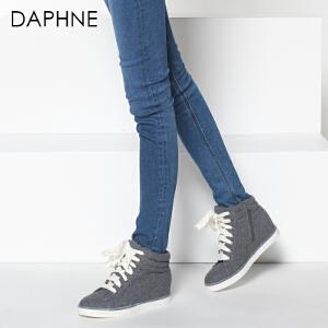 达芙妮冬季时尚女鞋 平底圆头休闲系带布面靴