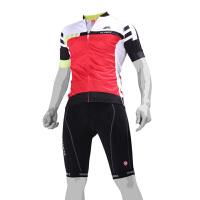 比赛级骑行服套装 夏季山地自行车骑行服短袖套装男女款 红色 雷霆短袖套装