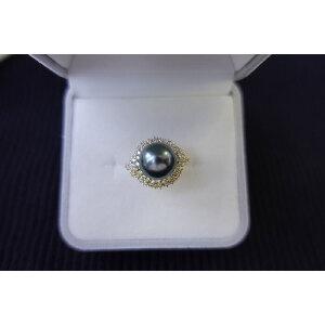 s925银镶大溪地黑珍珠孔雀绿色戒指