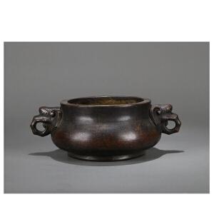 清代铜象耳炉