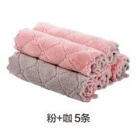 家用不掉毛吸水洗碗布5条装 厨房加厚清洁小毛巾擦手巾抹布