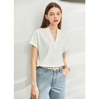 【券后预估价:65元】Amii设计感拼接短袖T恤女2020夏季新款ins潮白色心机V领百搭上衣