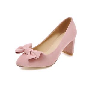 ELEISE美国艾蕾莎新品152-828韩版磨砂绒面高跟粗跟蝴蝶结女士单鞋