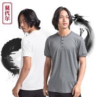 夏季时尚新款短袖太极服莫代尔T恤武术休闲纯色男士汗衫