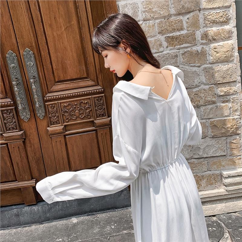 【七格格超品联合2折价:219.8,凑单叠券低至1.6折】七格格连衣裙秋装女2019年新款法式复古V领白色长裙长袖衬衫裙子
