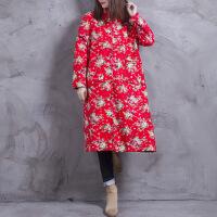 中国风棉麻加厚改良长款袍子民族风盘扣加绒中式印花棉衣外套 均码