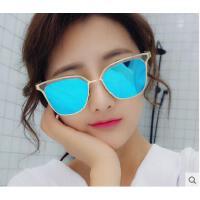 半框炫彩反光大圆脸太阳镜女 韩版个性太阳眼镜潮复古户外反光墨镜女太阳镜