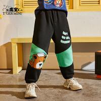 【2件3折:80.7元】小虎宝儿男童长裤加绒2021新款秋装儿童裤子运动