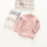 2018春季新款韩版女童时尚甜蜜小兔子中小童宝宝波浪领长袖T恤