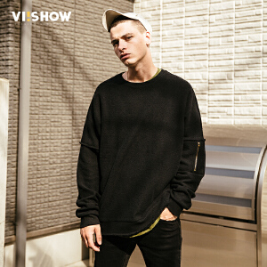 VIISHOW2017秋装新品圆领套头休闲卫衣男纯棉拼布男士外套运动衫