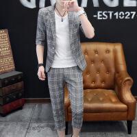 休闲套装西服男时尚薄款夏季中袖小西服韩版修身帅气七分袖三件套