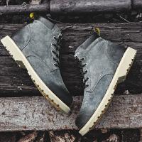 冬季马丁靴英伦男鞋子高帮鞋复古军靴韩版潮流中帮工装鞋中筒皮靴