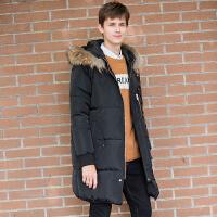 [1.5折价190元]唐狮羽绒服男中长款青少年贴标连帽可脱卸毛领外套潮