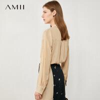 【券后�A估�r:83元】Amii�O�感小�小�r菊碎花�r衫2020秋新款百搭雪�上衣女外穿�r衣