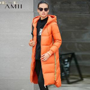 【品牌团 1件7折/2件5折】Amii运动风 90白鸭绒羽绒服女 冬装新款撞色织带连帽宽松长款外套