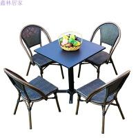 户外 室外庭院休闲桌椅 酒吧咖啡厅摆摊星巴克桌椅组合 1 4方桌