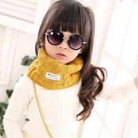 韩国宝宝儿童男孩蓝色毛线围脖套头 女童秋冬天百搭针织潮中大童