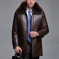 冬装中老年皮衣男装真皮皮衣男士绵羊皮草男中长款狐狸领加厚外套