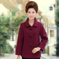 中老年妈妈装秋冬装新款翻领毛呢外套 中年女装纯色短款呢子大衣 XX