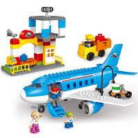 大颗粒拼装汽车飞机模型儿童积木玩具男孩3-6周岁 蓝色 繁忙机场 拼装大客机 彩盒+说明书