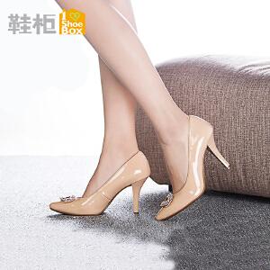 达芙妮旗下鞋柜春秋季水钻浅口单鞋女 尖头高跟工作女鞋