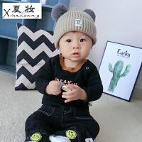 夏妆宝宝加绒打底衫男1-3岁婴幼儿童保暖上衣女冬季新款童装婴儿T恤潮 黑色 80-100码不开扣
