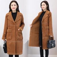 女中长款2017新款韩版皮毛一体棉衣外套女冬季加厚棉袄毛呢外套