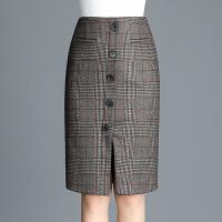 包裙冬毛呢半身裙秋冬中长款格子包臀裙修身显瘦高腰开叉一步裙女