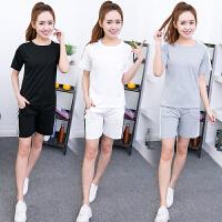 大码休闲运动服套装女春夏季2018新款韩版修身短袖t恤短裤两件套