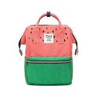 中学生书包女韩版旅行包时尚潮电脑背包女双肩包百搭简约 西瓜红拼绿