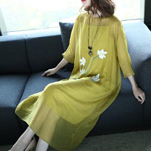 RANJU 然聚2018夏季新品新款复古连衣裙女中长款名媛气质过膝长裙