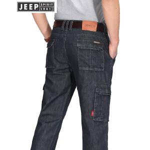 JEEP吉普工装牛仔裤男士宽松休闲多袋牛仔裤春夏薄款潮流男装牛仔裤子