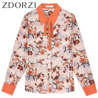 zdorzi卓多姿2018春装新款POLO领系带花卉长袖雪纺衬衫女636E169
